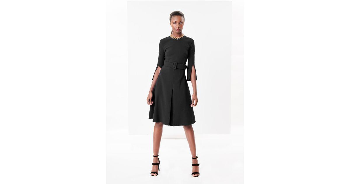 f6839bae5a Lyst - Oscar de la Renta Stretch-wool Crepe Split-sleeve Dress in Black