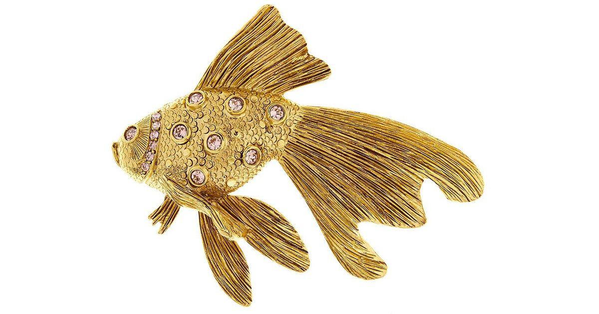 Oscar De La Renta crystal fish stone brooch - Metallic oUZVw8zwzH