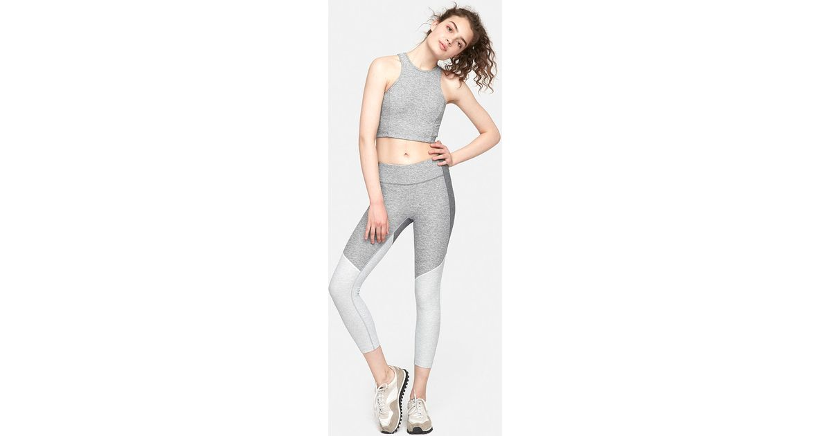 Outdoor voices 3 4 tri tone warmup legging in gray lyst