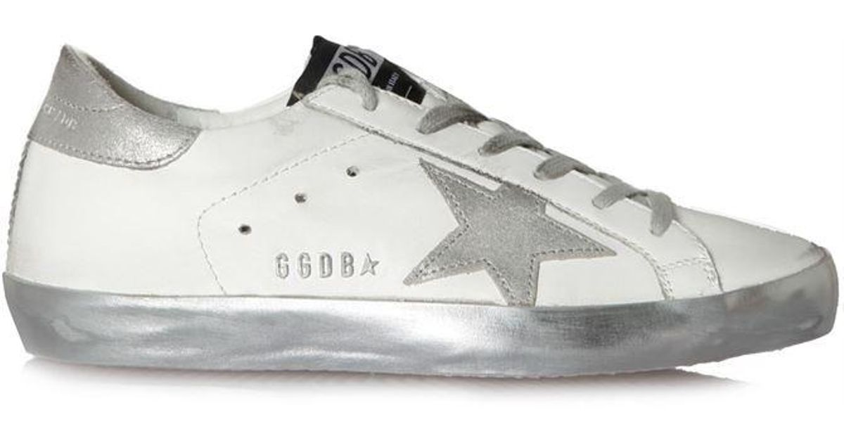 5dd3287a121d Golden Goose Deluxe Brand Superstar Sparkle Silver Star Sneakers in White -  Lyst