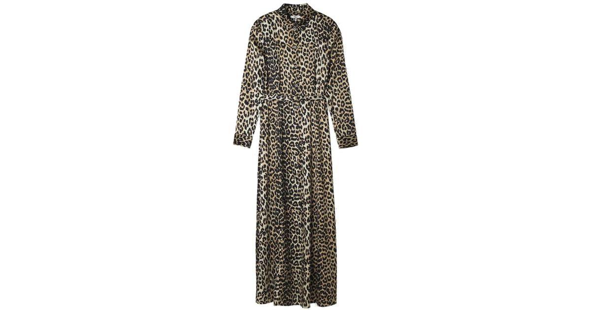f2a1c79b Ganni Dufort Silk Maxi Dress Leopard - Lyst