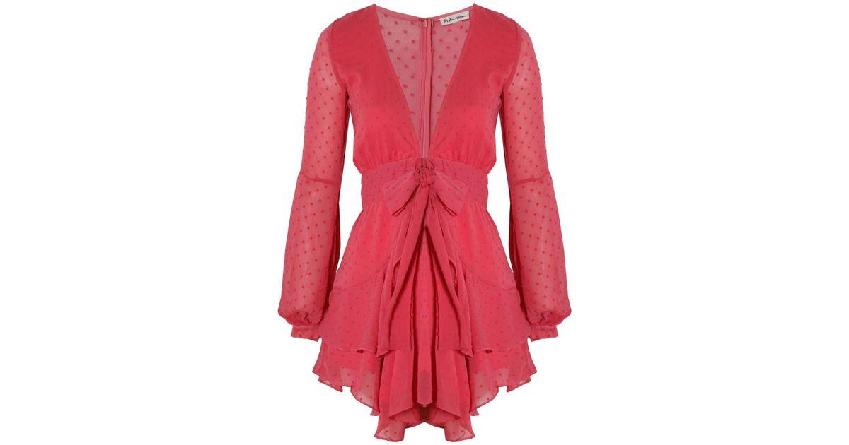 f886d984fe15 For Love & Lemons Tarta Long Sleeve Mini Dress Flamingo - Lyst