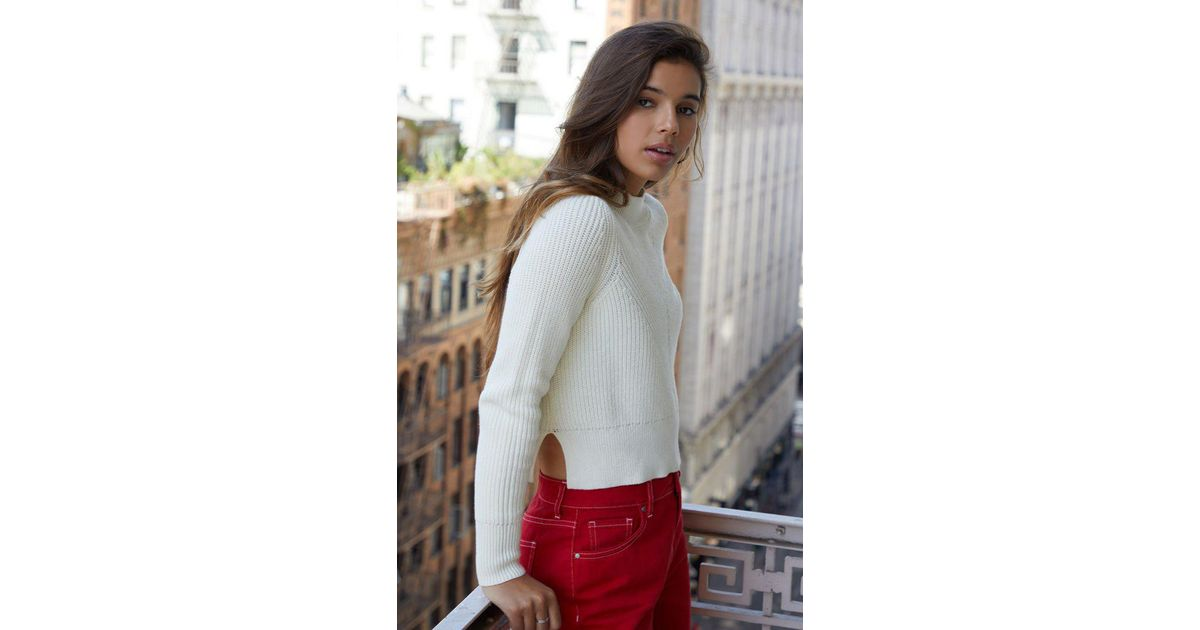 62dd1426ca0 Kendall + Kylie Rachel Mock Neck Sweater in White - Lyst