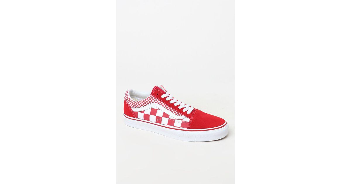 b08aa0fa99d Lyst - Vans Mix Checker Old Skool Chili Pepper   True White Shoes in Red - Save  23%