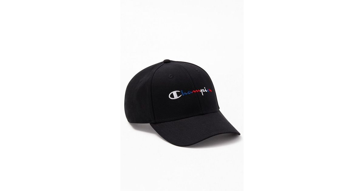 new arrival 188b9 3109e Champion Twill Multi Script Strapback Dad Hat in Black for Men - Lyst