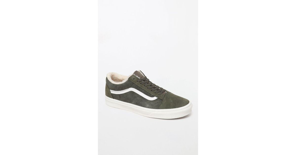 6d14d2767a Lyst - Vans Suede Old Skool Sherpa Shoes in Green for Men