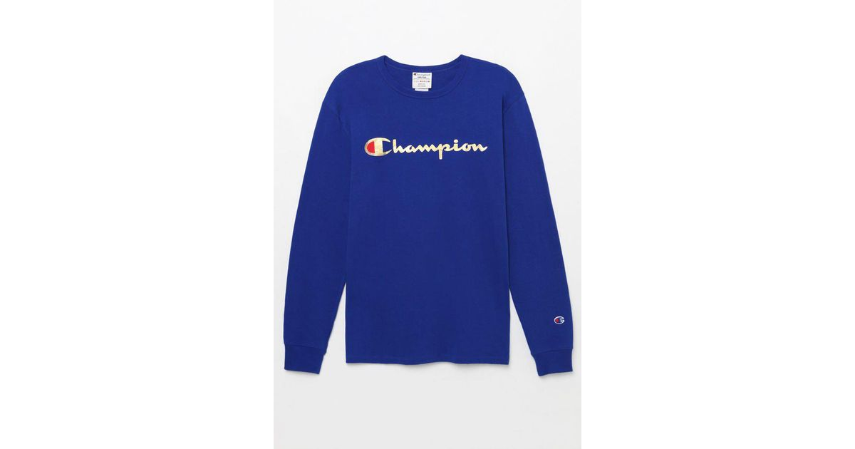 ff5eaf09b217 Lyst - Champion Gold Script Long Sleeve T-shirt in Blue for Men