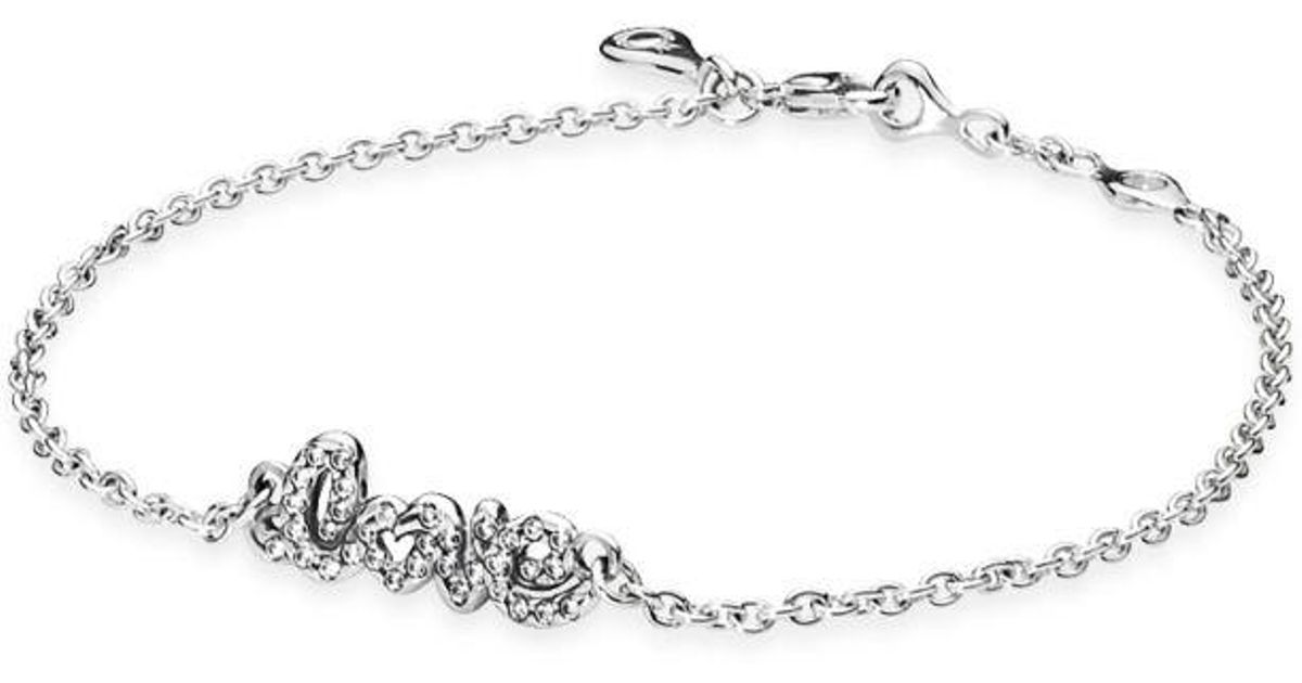 14c319c63 PANDORA Signature Of Love Bracelet in Metallic - Lyst