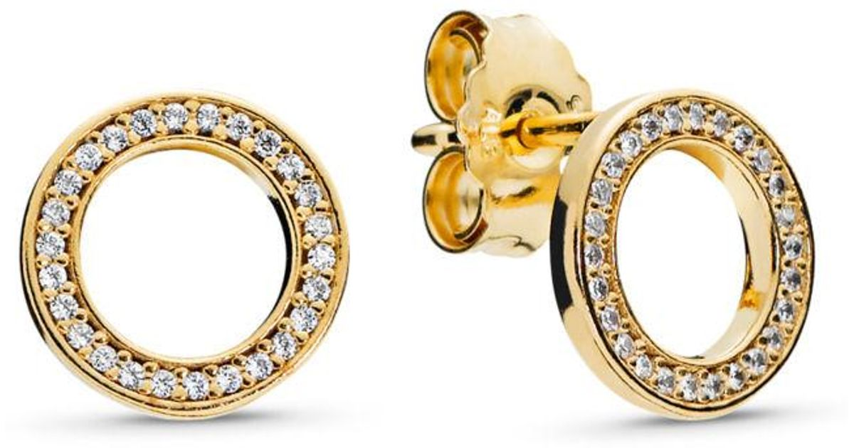 323236420 PANDORA Forever Stud Earrings in Metallic - Lyst