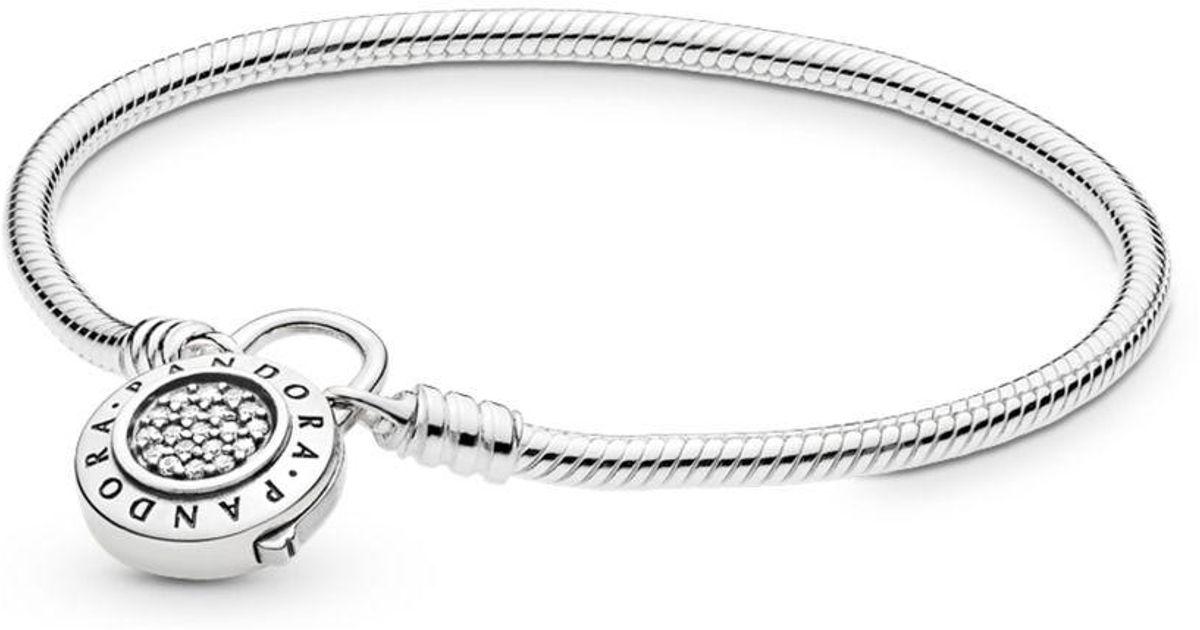 1687f6313 PANDORA Moments Smooth Silver Bracelet, Signature Padlock in Metallic - Lyst