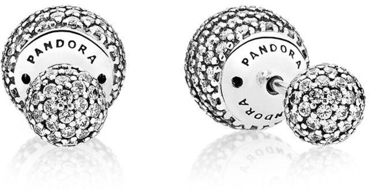 31d2a0874 ... australia pandora pavé drops stud earrings in metallic lyst fd44c 4d18e
