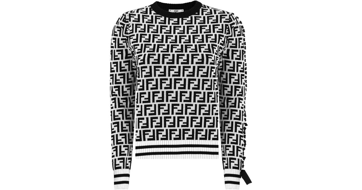 79277c0f92521 Lyst - Fendi Ff Logo Crop Knit Top White black in White