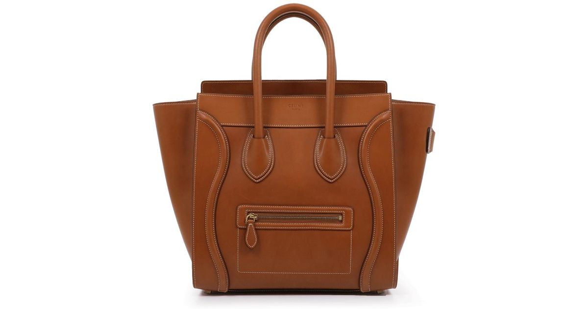 c0ec3a7094e0 Lyst - Céline Micro Luggage Smooth Tan in Brown