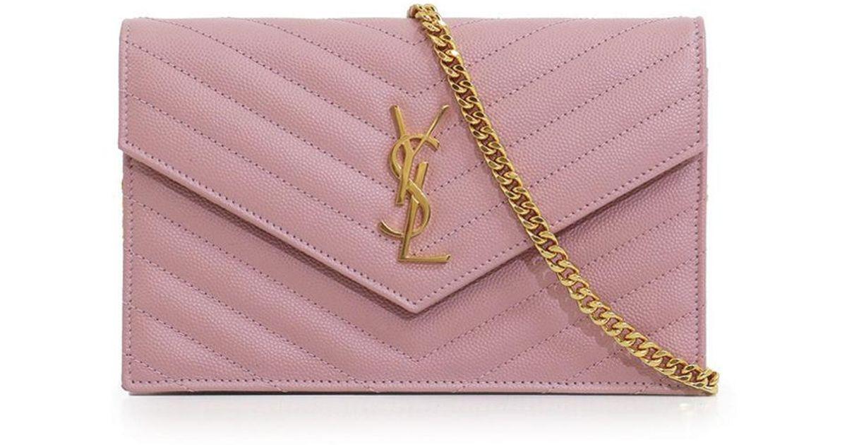 f5d8b92d4f2e3 Lyst Saint Lau Monogramme Envelope Quilted Chain Wallet Tender. Lyst Saint  Lau Monogram Wallet Ysl Envelope In Quilted Grain De Poudre Leather Pink