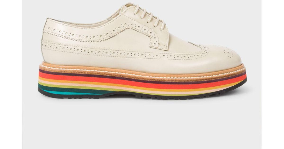 1b4532cd1e Paul Smith Women's Off-white Leather 'grand' Brogues With 'artist Stripe'  Soles in White - Lyst