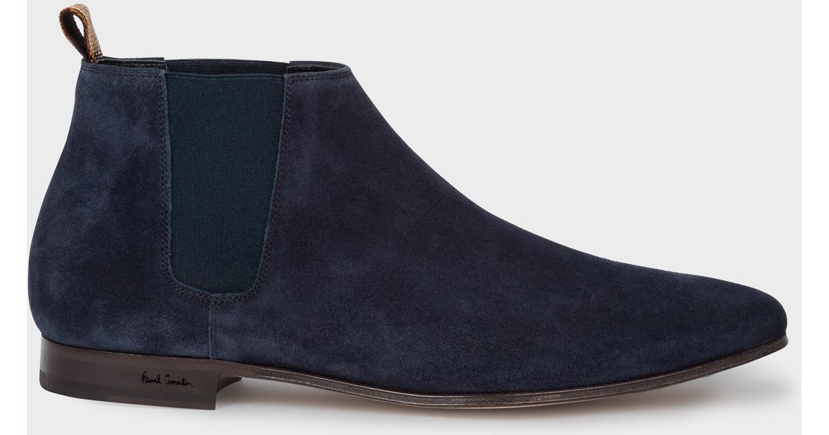 5c4e01e98337a Paul Smith Dark Navy Suede Leather 'marlowe' Chelsea Boots in Blue for Men  - Lyst