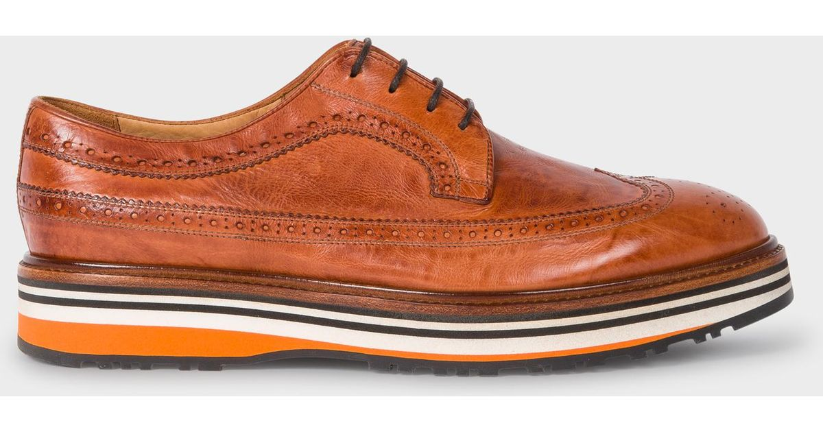 59e8b46d35 Paul Smith Tan Leather 'Grand' Brogues With Striped Soles in Brown for Men  - Lyst