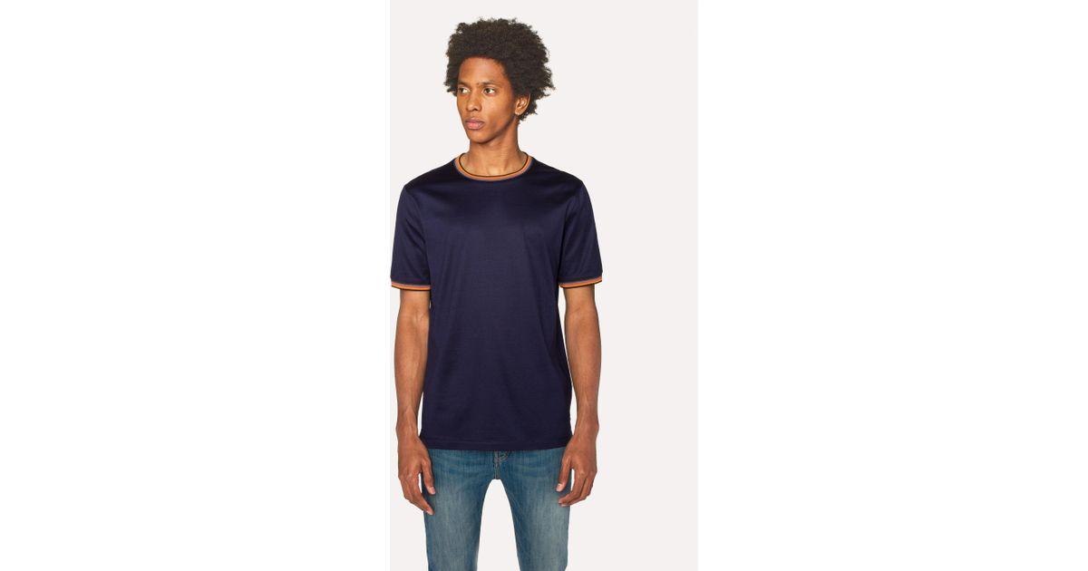 3d60fc2d99 Paul Smith Navy Cotton T-Shirt With 'Artist Stripe' Trims in Blue for Men -  Lyst