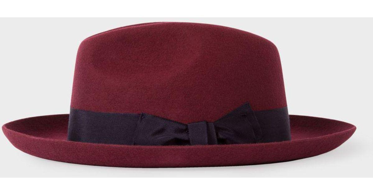 Lyst - Paul Smith Men s Burgundy  mayfair  Wool Fedora Hat in Red for Men f28e2bf7924