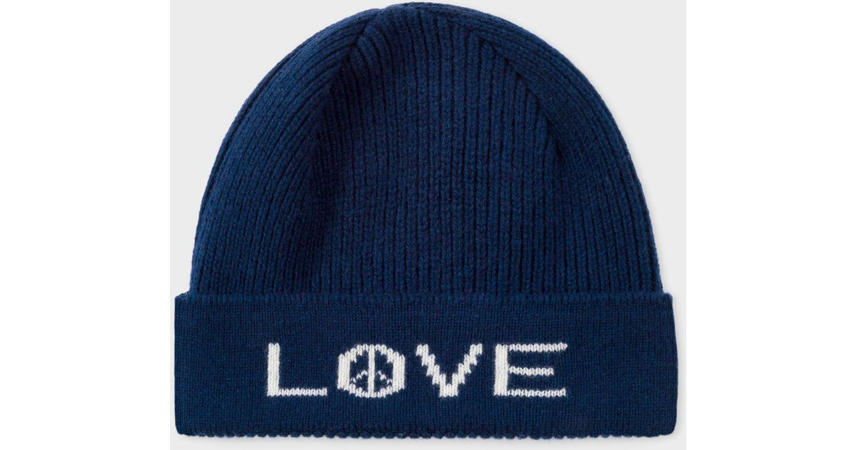 eb3d1dcedbd86 Lyst - Paul Smith Navy  peace And Love  Wool Beanie Hat in Blue for Men