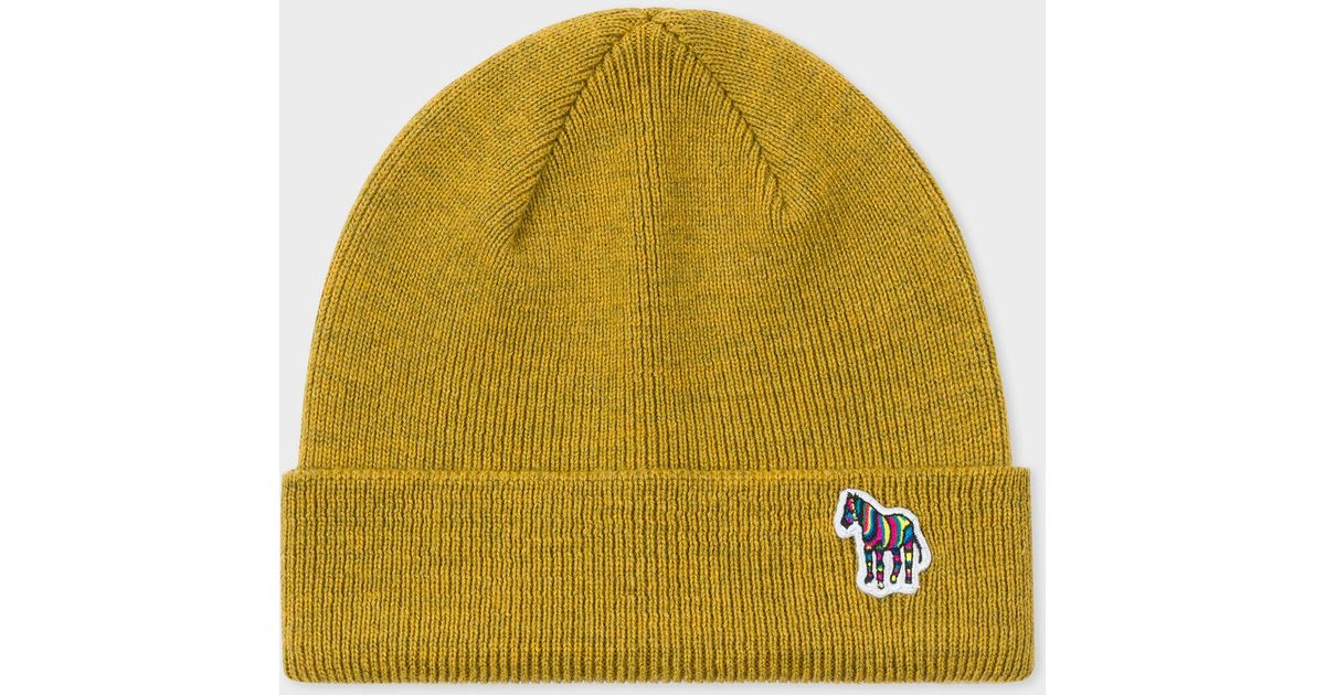 Lyst - Paul Smith Mustard  Zebra  Logo Ribbed Lambswool Beanie Hat in  Yellow for Men 085fa4369a0