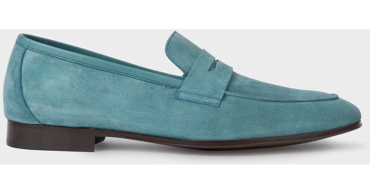 e3c32663626 Lyst - Paul Smith Turquoise Suede  Glynn  Penny Loafers in Blue for Men