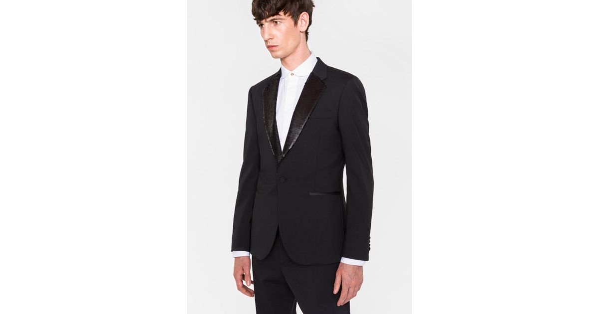 b1715e51c73d Lyst - Paul Smith Men s Tailored-fit Black Stretch-wool Sequin-lapel  Evening Blazer in Black for Men