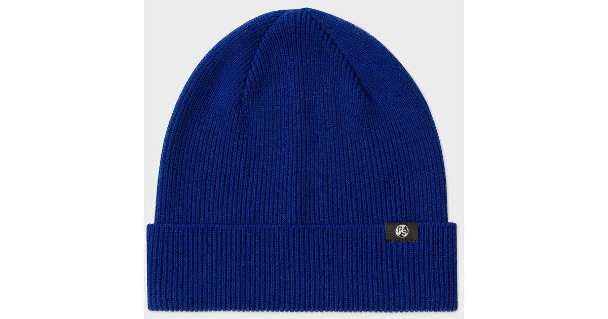 Lyst - Paul Smith Men s Cobalt Blue Merino Wool Beanie Hat in Blue for Men f033494b4ef