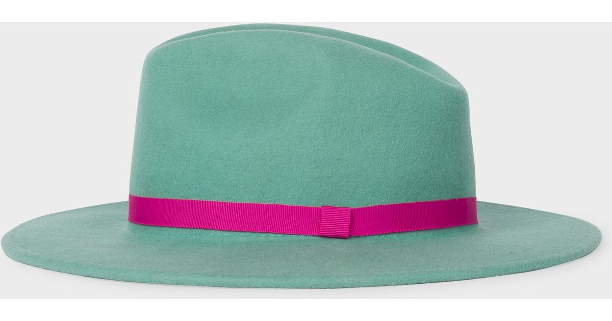 4541186a736cea Paul Smith Mint Green Wool Fedora Hat With 'acapulco' Lining in Green - Lyst