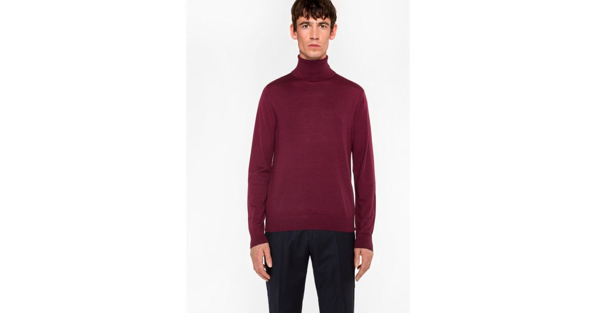 5095855307eb Lyst - Paul Smith Men s Burgundy Merino Wool Roll Neck Sweater in ...