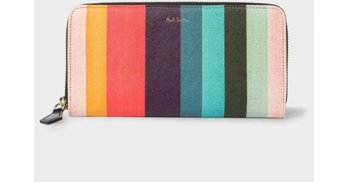 b0d597b8c5a0 Paul Smith Women's Large 'artist Stripe' Print Leather Zip-around Purse -  Lyst