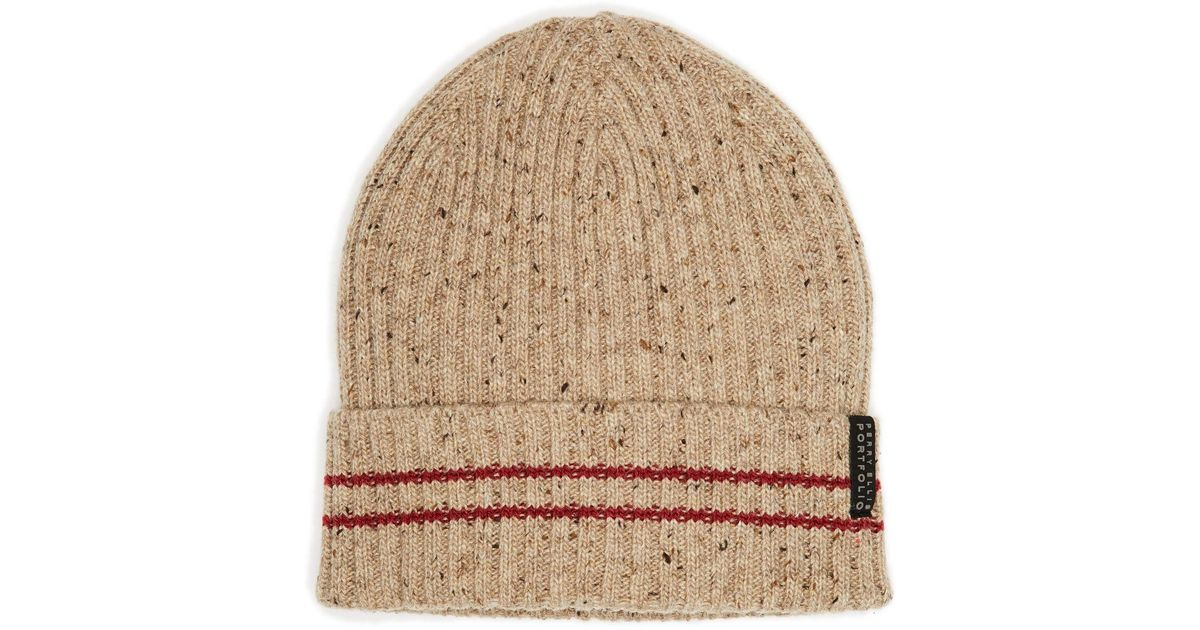 b43c34a94 Perry Ellis - Brown Marled Striped Beanie for Men - Lyst