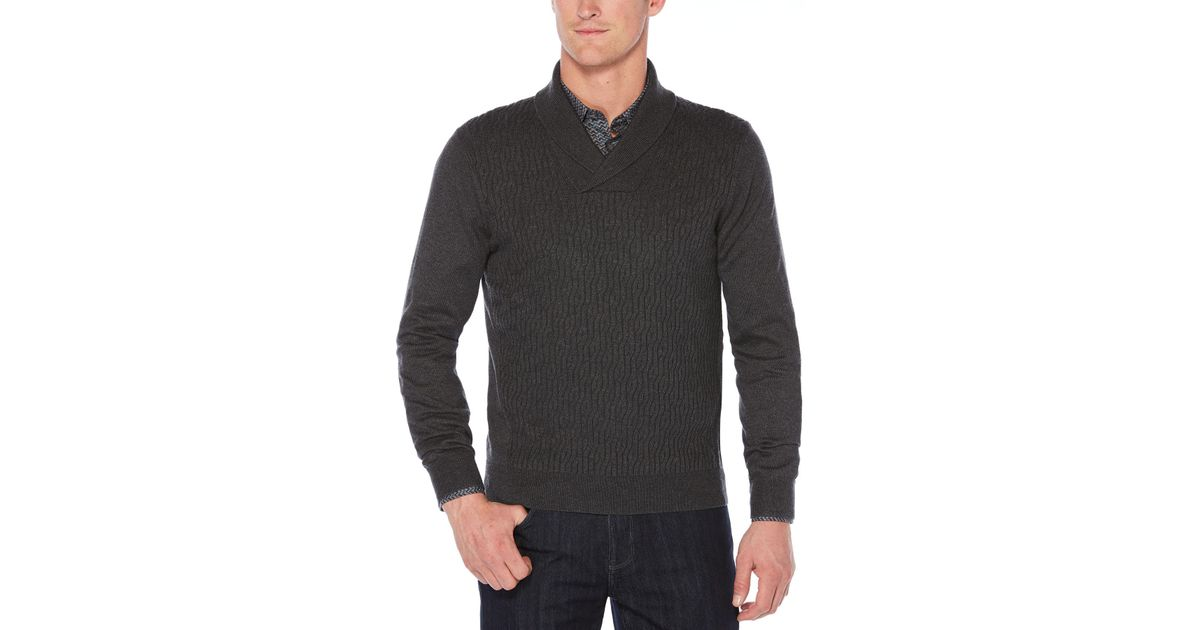 Lyst - Perry Ellis Cable Shawl Pullover Cardigan in Gray for Men a4cb30b3f