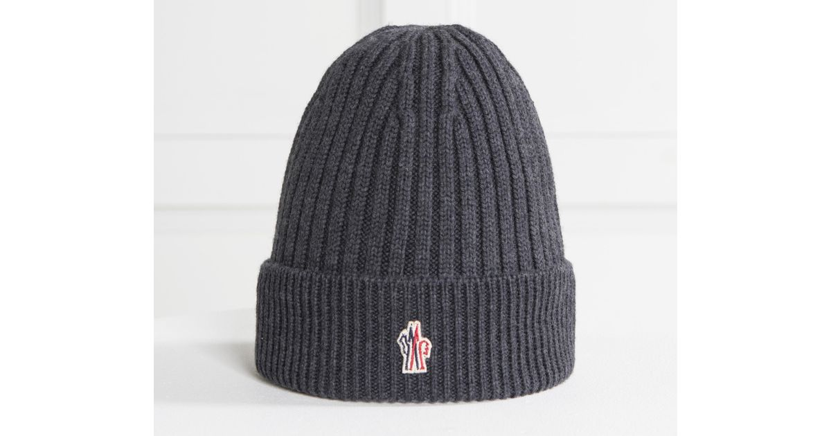 53e617f8e79 Lyst - Moncler Grenoble Ribbed Wool Hat Charcoal in Gray for Men