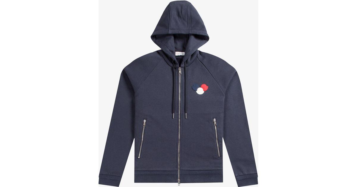ca51729db3d2 Lyst - Moncler Fleece Lined Hooded Sweatshirt Navy in Blue for Men