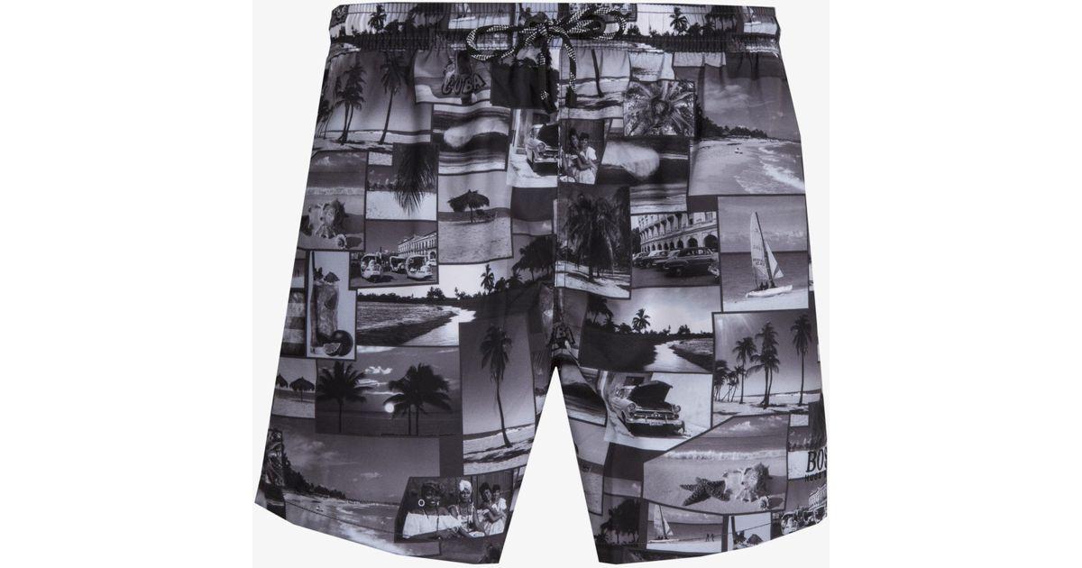 5c89c6224c Lyst - BOSS 'springfish' Quick Dry Cuba Lifestyle Print Swim Shorts Black &  White in Black for Men - Save 2%