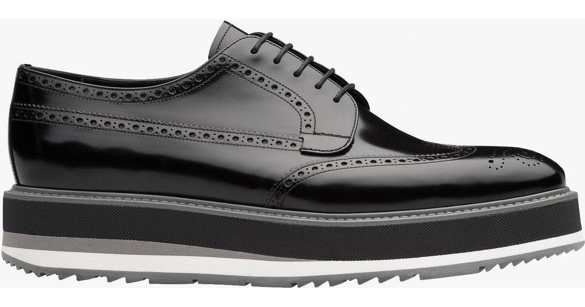 39a348a0af Lyst - Prada Leather Platform Derby Shoes in Black for Men