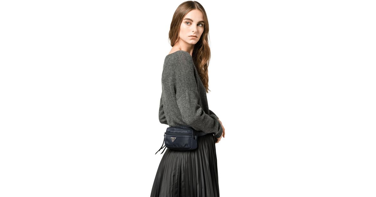 2724802a8c5a Prada Fabric And Leather Belt Bag in Blue - Lyst