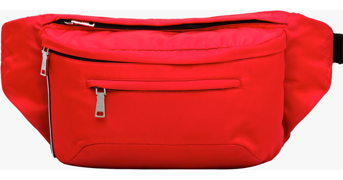 98cd2a0ce925 Lyst - Prada Nylon Belt Bag in Red for Men