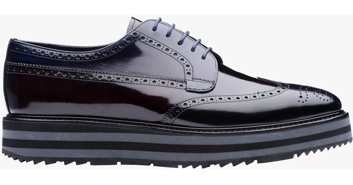 e52536eb637 Lyst - Prada Leather Platform Derby Shoes in Black for Men
