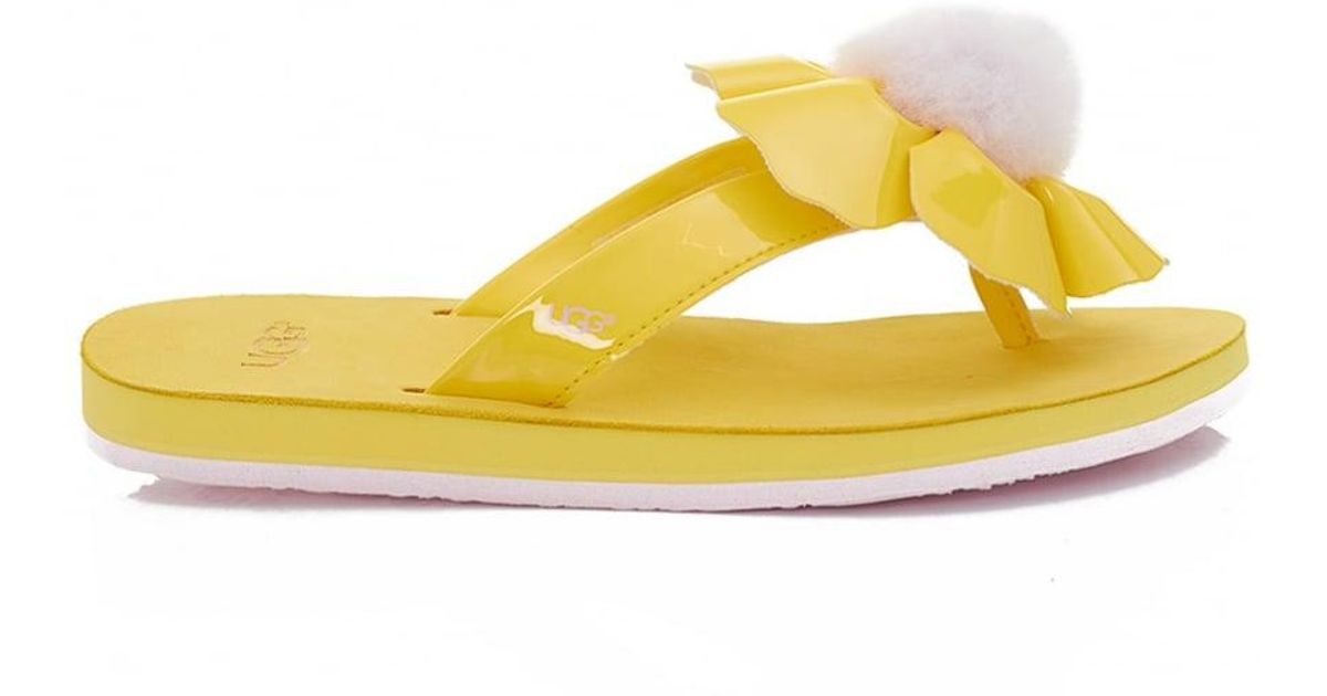 548b6828fdb85d Lyst - UGG Poppy Flower Flip Flops in Yellow