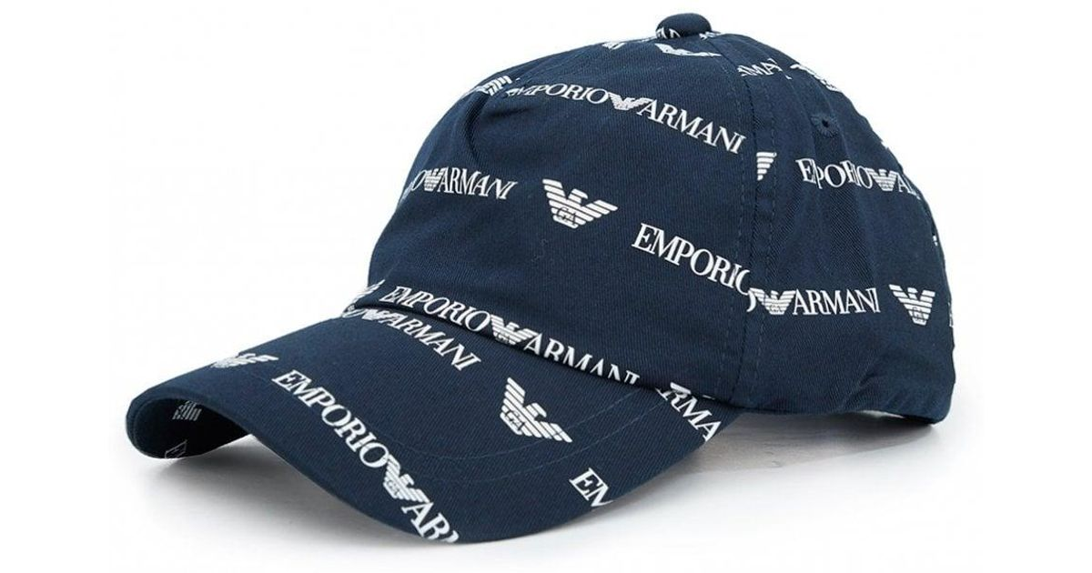 65da05f89ac1a Lyst - Armani Jeans All Over Script Logo Cap in Blue for Men