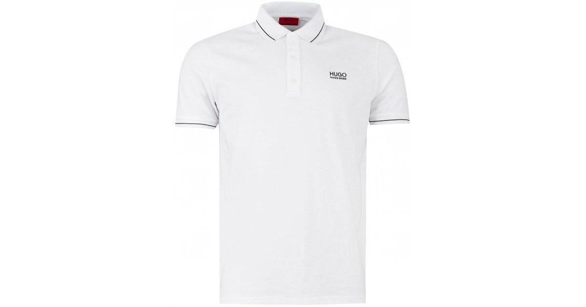 fc15178dd85 HUGO Daruso Contrast Stripe Polo in White for Men - Lyst
