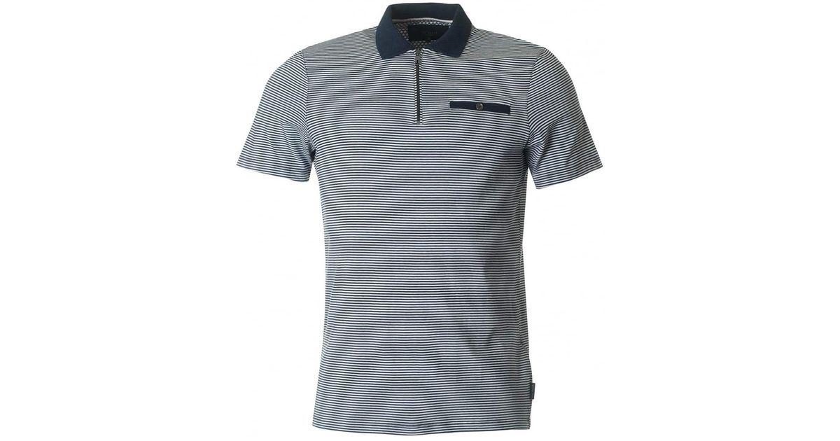 fa0d923a31 Lyst - Ted Baker Whippet Zip Neck Striped Polo in Blue for Men