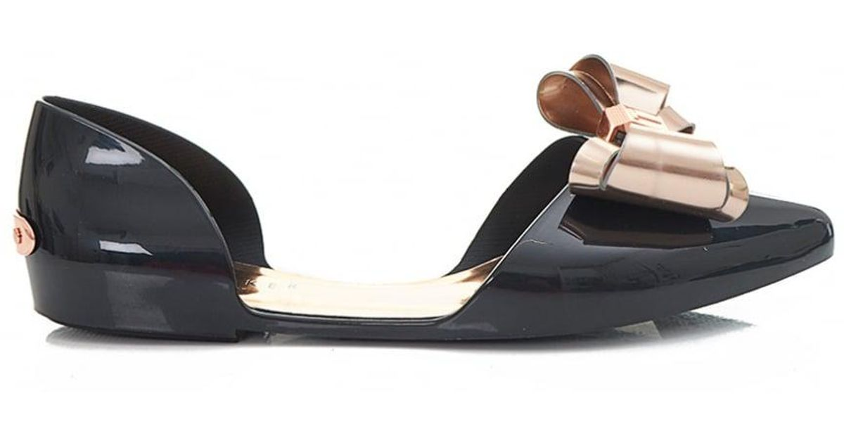 c4a2c1331bdc Lyst - Ted Baker Pointed Bow Front Jelly Pumps in Black