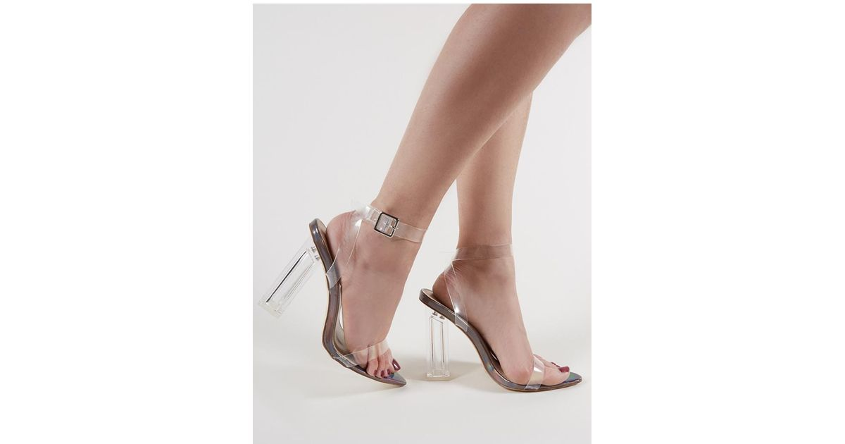 9bfba439363 Public Desire Motel Strappy Perspex High Heels In Pewter - Lyst