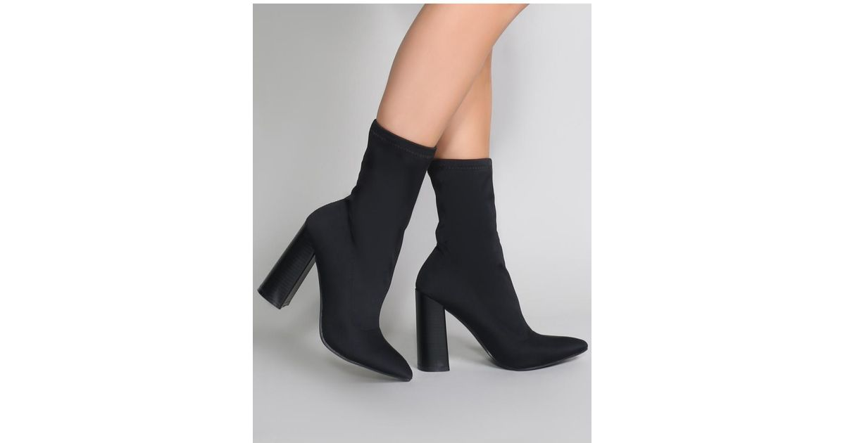 3b760413d2c0 Public Desire Libby Flared Heel Sock Fit Ankle Boots In Black Stretch in  Black - Lyst