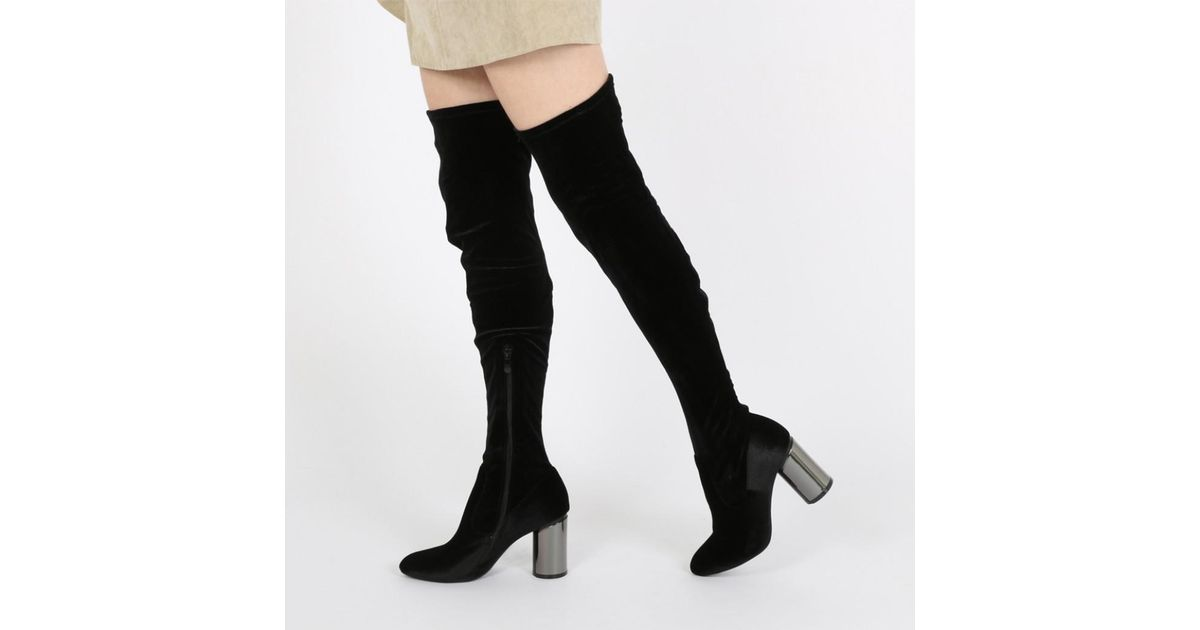 48ced2cfe Public Desire Ellis Mirrored Heel Long Boots In Black Velvet in Black - Lyst
