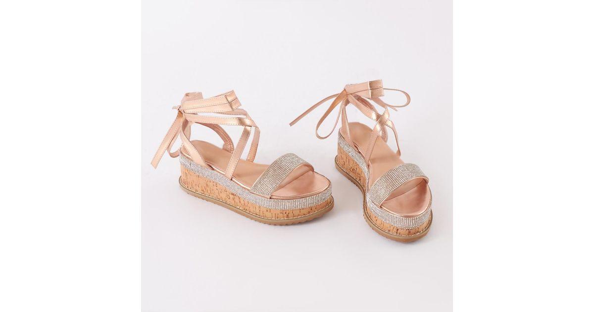 351821c1f422 Public Desire Bora Bora Diamante Lace Up Flatform Sandal In Rose Gold in  Pink - Lyst