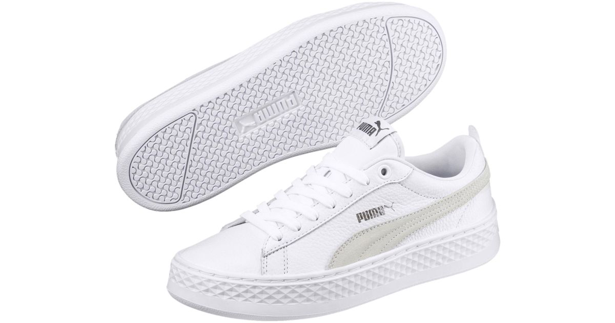 f957f01a31f Lyst - PUMA Smash Platform Leather Women s Sneakers in White